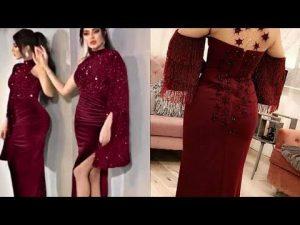 صورة فستان قطيفه شفته على وحده واعجبني